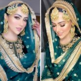 Sana Khan's teal green and golden gharara is a must-add in your trousseau