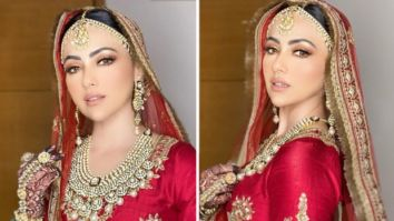 Sana Khan looks ethereally royal in a classic red lehenga for her Walima with Mufti Anas