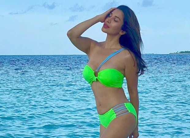 Sophie Choudry complements the blue sea as she poses in a neon green bikini worth Rs 6.3k