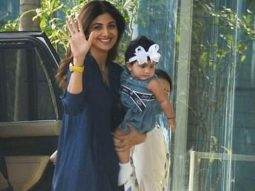 Shilpa Shetty poses with her daughter Samisha for the paparazzi; the little one's expressions are too good to miss