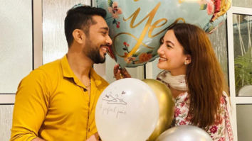 Zaid Darbar pops the big question and Gauahar Khan says yes, the newly engaged couple poses adorably