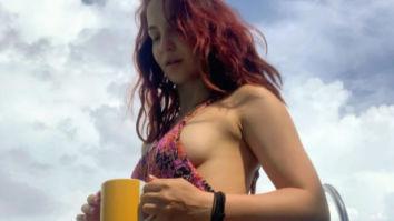 Elli AvRam makes having tea by the sea look sexy