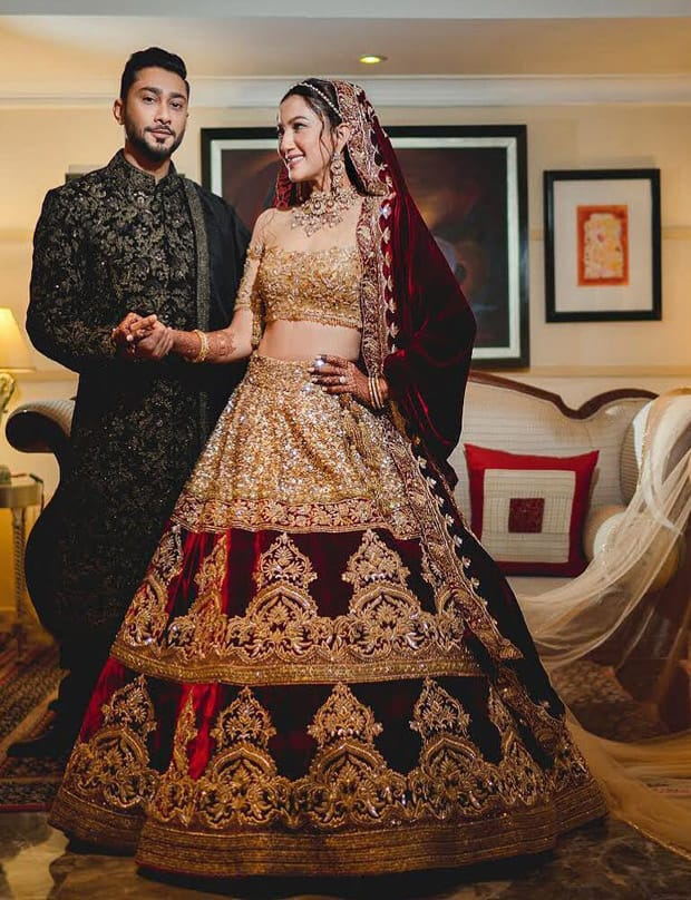 Gauahar Khan and Zaid Darbar look absolutely royal in Manish Malhotra Couture for their wedding reception
