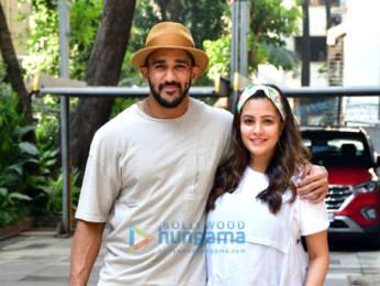 Photos: Anita Hassanandani and husband Rohit Reddy leave for Alibaug