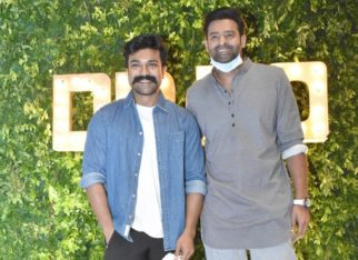 Prabhas and Ram Charan strike a pose together at producer Dil Raju's 50th birthday party
