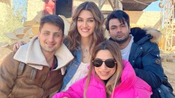 Kriti Sanon shares a glimpse from the sets of Bachchan Pandey, poses with her crew