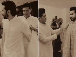 Manish Malhotra captures the moments of dressing groom Varun Dhawan up for his wedding with Natasha Dalal