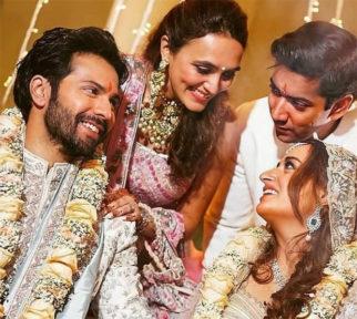 Varun Dhawan - Natasha Dalal Wedding: The newlyweds share happy moment with Rohit Dhawan and Jaanvi Desai