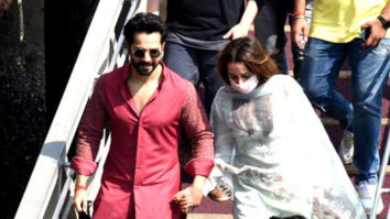 Varun Dhawan and Natasha Dalal leaving from Alibaug from a speed boat