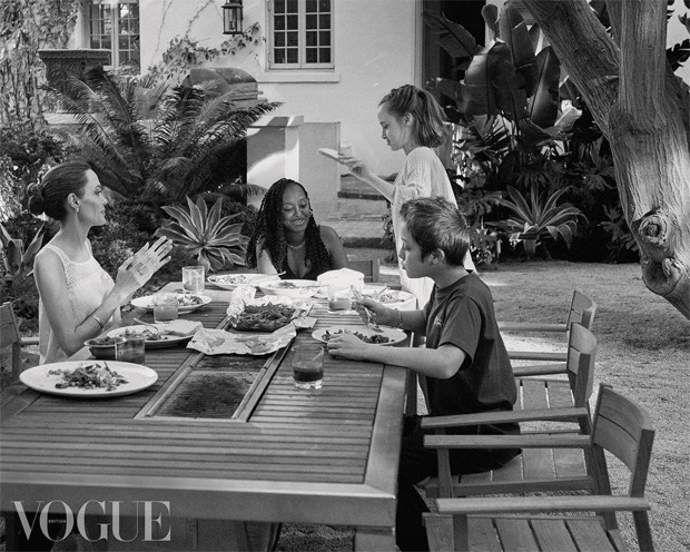 Angelina Jolie gives a rare glimpse of her children in the cover shoot for British Vogue at her$24.5 million mansion
