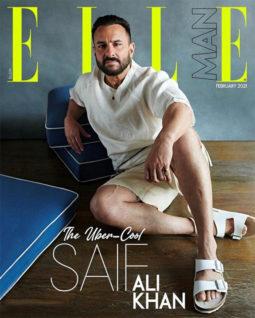 Saif Ali Khan on the cover of Elle, Feb 2021