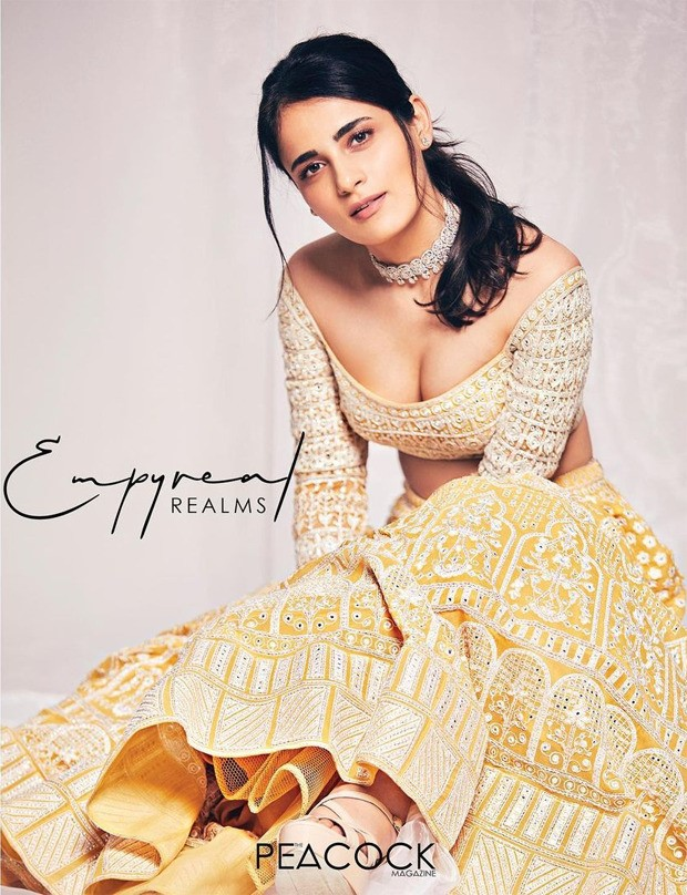 Radhika Madan looks exquisite in yellow embellished Falguni and Shane Peacock lehenga giving a modern twist to traditional affair