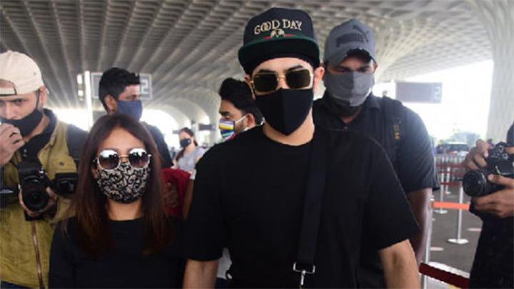 Spotted - Neha Kakkar, Rohan Preet Singh and Nikita Gandhi at Airport
