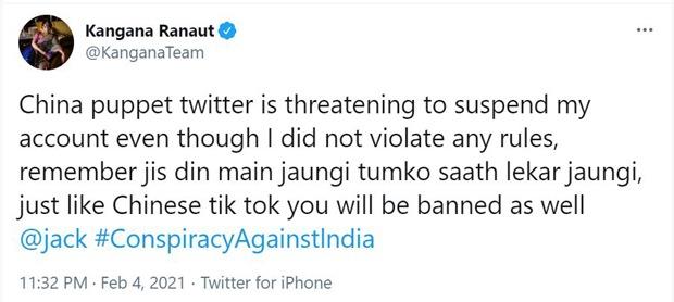 Kangana Ranaut says Twitter is threatening to suspend her account; says Twitter will be banned just like 'Chinese Tik Tok'