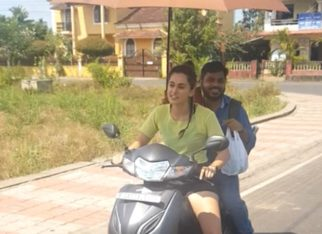 Taapsee Pannu rides a scooty from the shoot location of Looop Lapeta to her vanity van in Goa