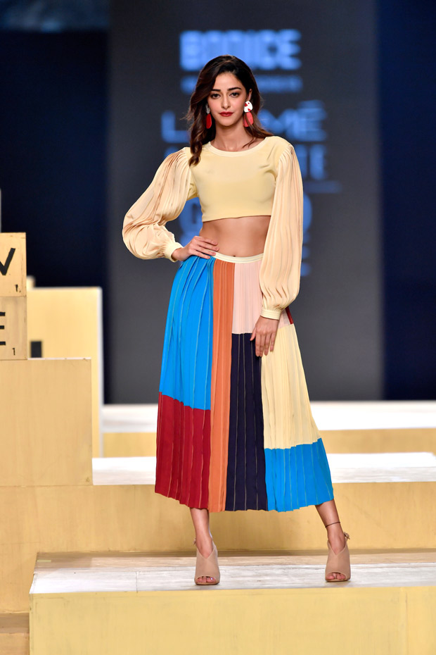 Ananya Panday makes her runway debut in vibrant pleated skirt and the full sleeved crop top at grand finale of Lakme Fashion Week 2021