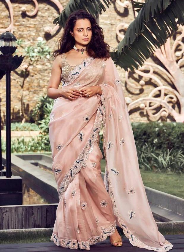 Kangana Ranaut goes from pastel peach to handloom saree for trailer launch of Thalaivi in Chennai and Mumbai