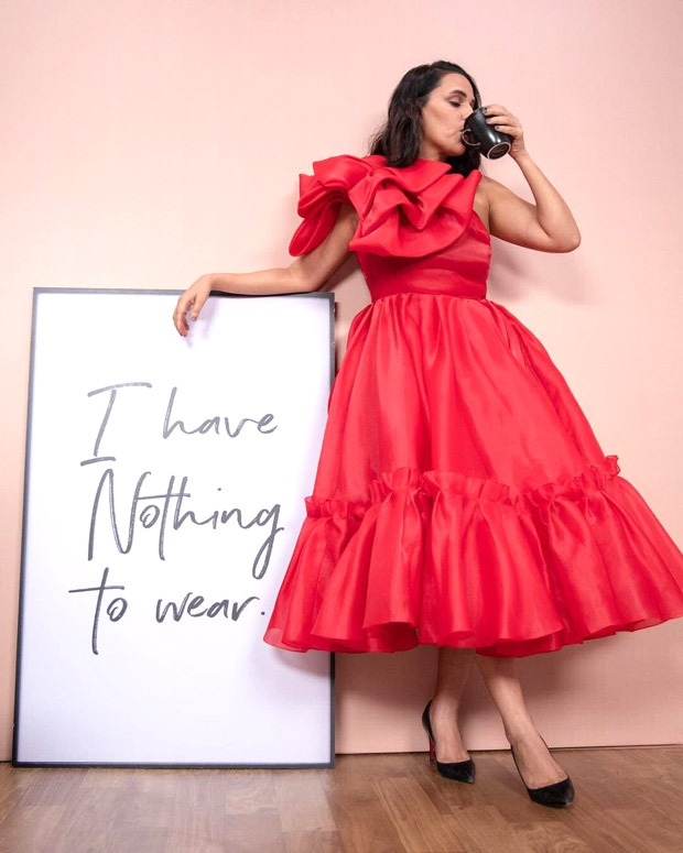 Neha Dhupia's ree midi dress worth Rs. 58,000 is an elegant statement piece you need in your closet