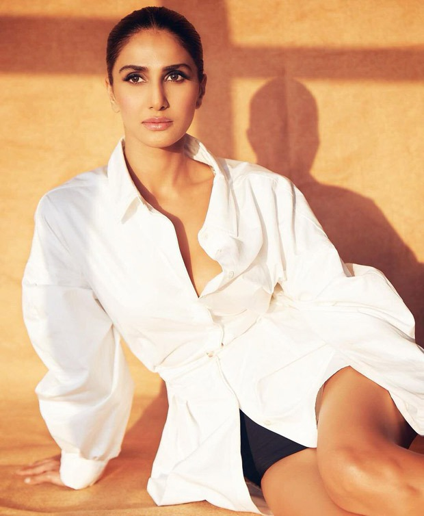 Vaani Kapoor pairs white oversized shirt with cycling shorts and it is best summer outfit
