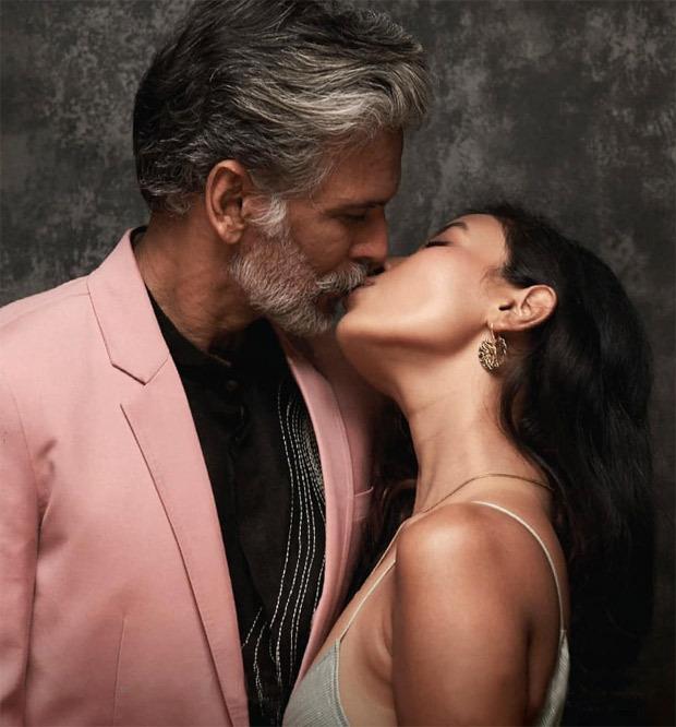 Milind Soman and wife Ankita Konwar share a kiss during PETA India's new vegan show at Lakme Fashion Week 2021