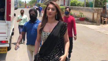 Dhvani Bhanushali spotted on Indian Idol set promoting her song Radha