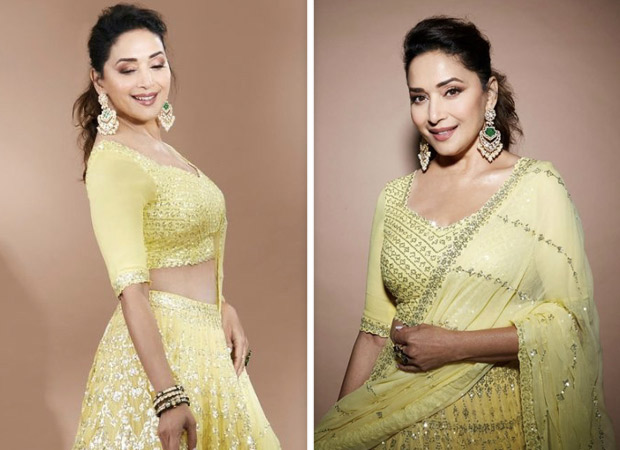 Madhuri Dixit sparkles in embroidered yellow lehenga for Dance Deewane 3 shoot