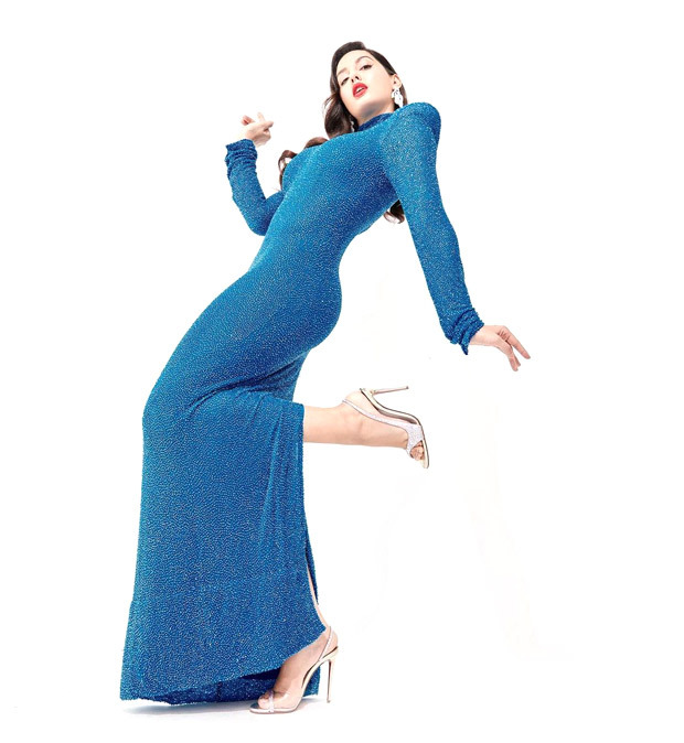 Nora Fatehi is sight to behold in blue semi-sheer embroidered Naeem Khan gown worth Rs. 5 lakhs