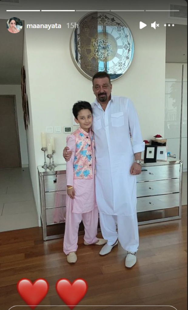 संजय दत्त और मान्यता दत्त ने दुबई में जुड़वा बच्चों के साथ मनाई ईद