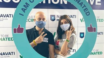 Kajal Aggarwal takes the first jab of COVID vaccine; bumps into Anupam Kher at the vaccination center