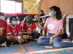 Jacqueline Fernandez interacts and plays with children at the OSCAR Foundation