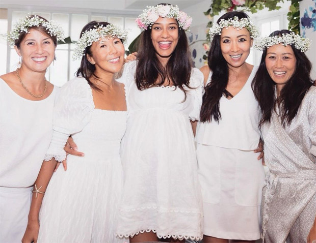 Lisa Haydon looks gorgeous in white mini dress during her baby shower with her friends