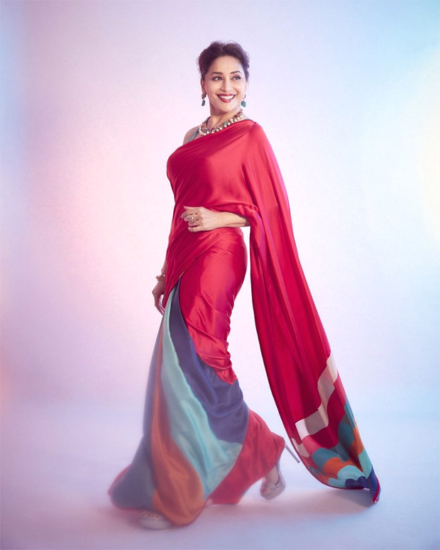 Madhuri Dixit has us swooning over her in red saree worth Rs. 24,800 for Dance Deewane 3