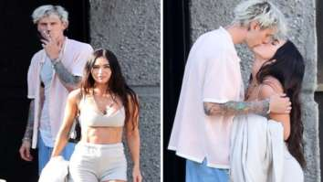 Megan Fox and Machine Gunn Kelly share a kiss; actress dons beige bustier and shorts for a motorcycle ride