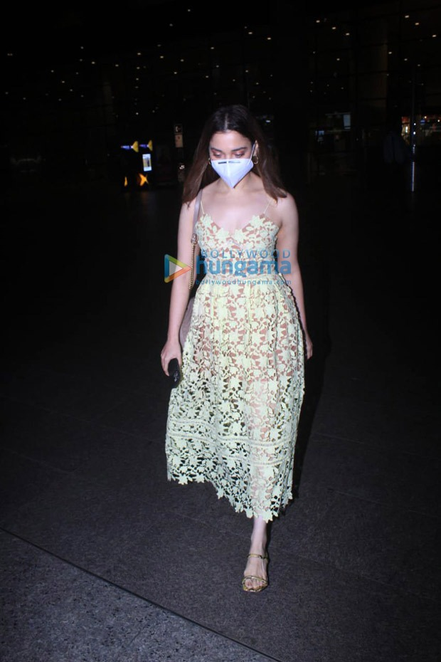 Tamannaah Bhatia arrives in Mumbai in H&M lime yellow lace dress worth Rs. 8237