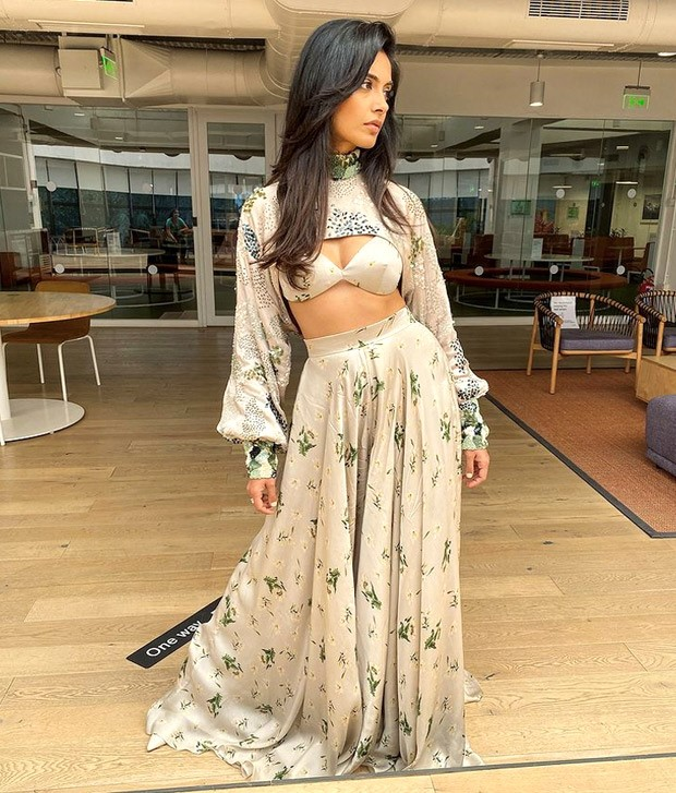 Sarah Jane Dias blends ethnic with modern elegance with satin printed pallazo paired with arm warmer and bralette worth Rs. 38,900