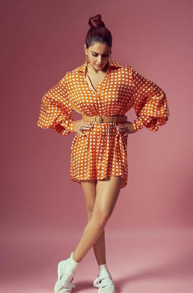 Genelia D'Souza dons bright orange mini shirt dress worth Rs. 8,500