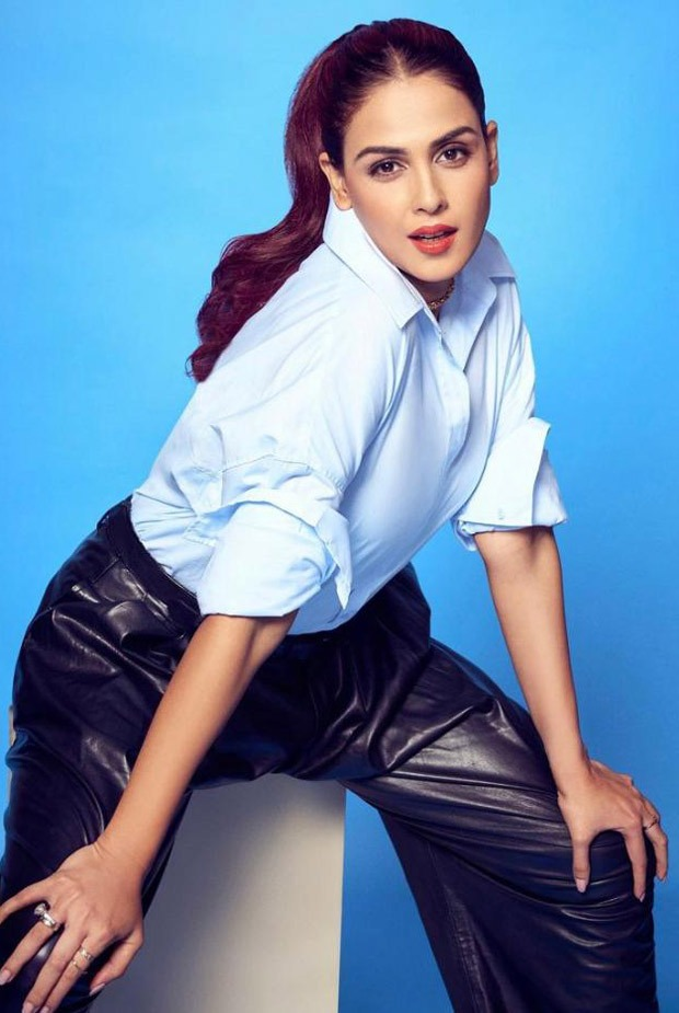 Genelia Deshmukh ups the fashion ante as she pairs off leather pants with formal shirt