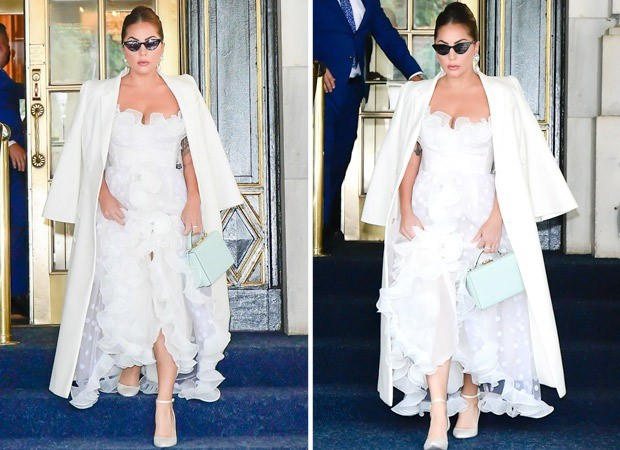 Lady Gaga looks sensational as she steps out in New York in white Giambattista Valli sheer gown 2