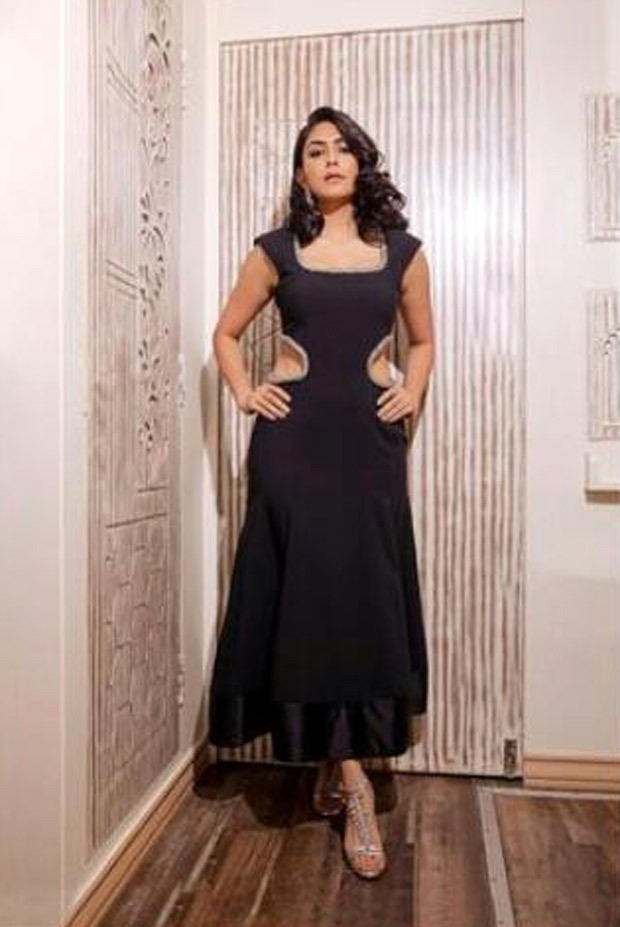 Mrunal Thakur dons a Prabal Gurung black midi dress with waist cut outs for Toofan prompotions