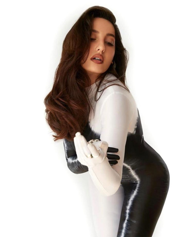 Nora Fatehi sets the internet ablaze in figure-hugging black and white leotard that accentuates her curves