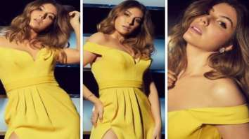 Sacred Games actress Elnaaz Norouzi is a smokestorm in off-shoulder yellow thigh-high slit dress Chutzpah promotions on Indian Idol