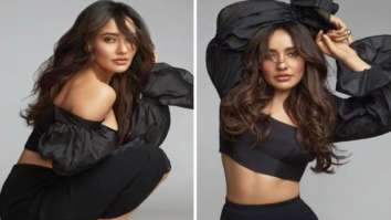 Neha Sharma elevates basic look with puffed sleeved off-shoulder crop top and black figure-hugging skirt