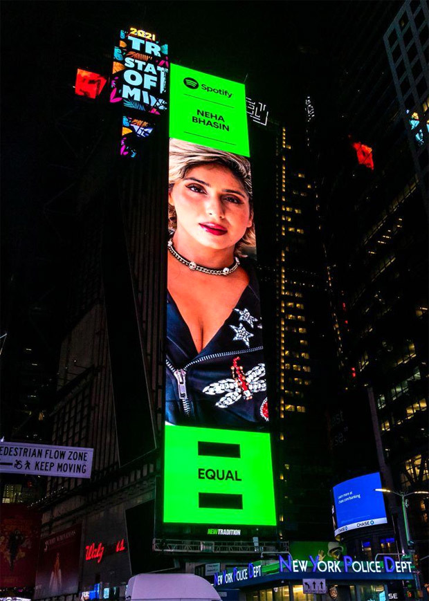 Neha Bhasin on Times Square Billboard as Artist of the Month for her song 'Oot Patangi' on Spotify