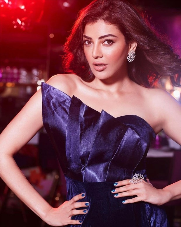 Kajal Aggarwal looks radiant dark strapless blue gown with thigh-high slit
