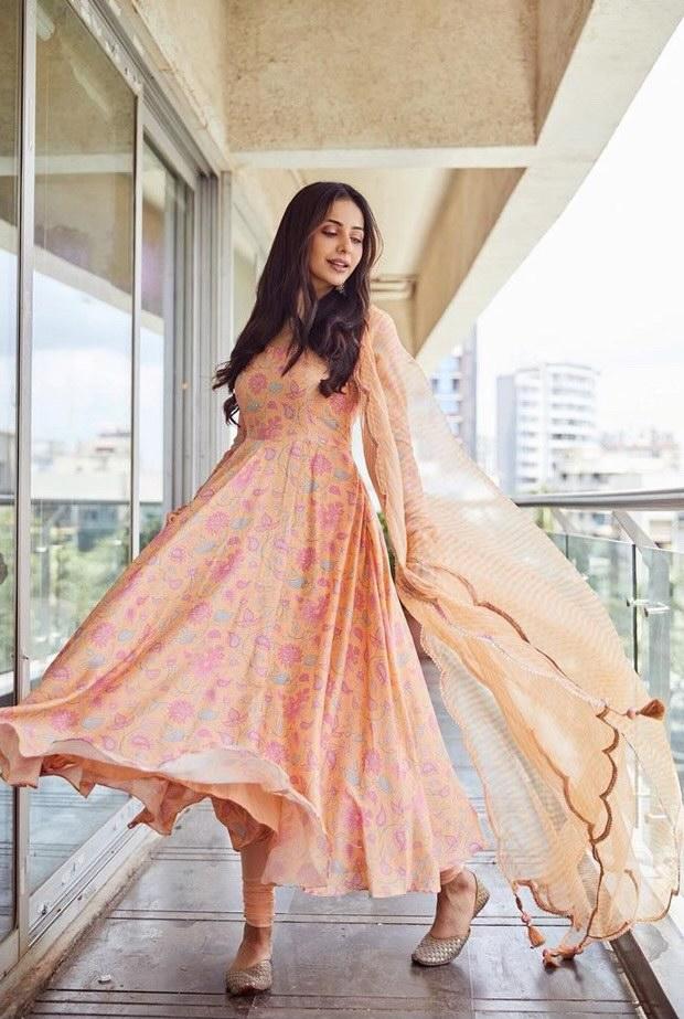 Rakul Preet looks radiant in anarkali dress worth Rs. 11,400 for Konda Polam promotions
