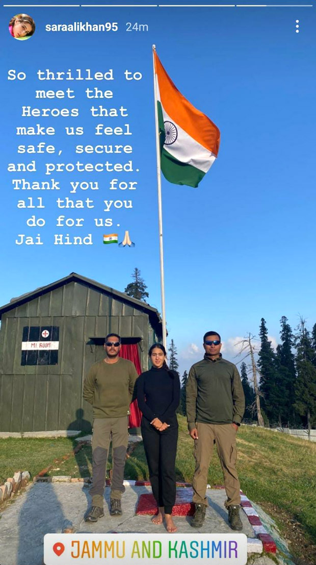 Sara Ali Khan meets with personnel of the Indian Army in Jammu and Kashmir