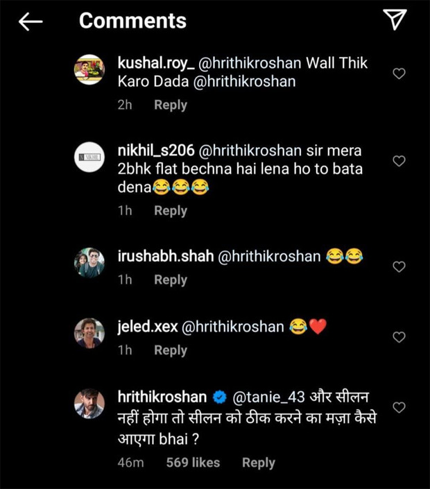 Hrithik Roshan responds to fans who noticed 'Seelan' on his wall in latest picture clicked at his house