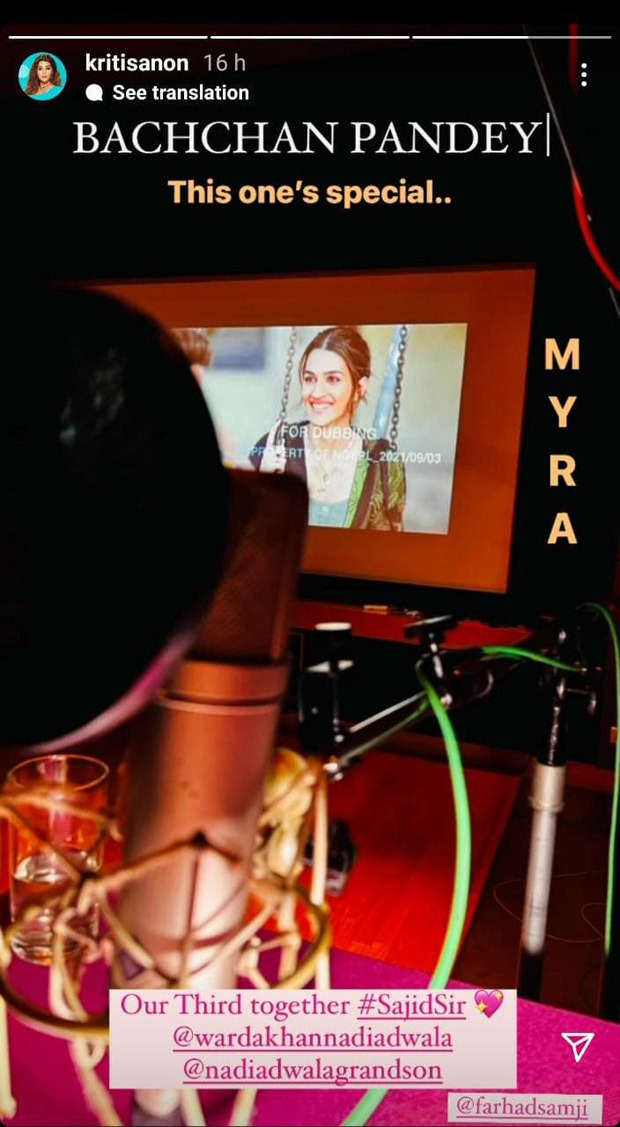 Kriti Sanon shares a glimpse of her character 'Myra' from Bachchan Pandey as she starts dubbing for the film