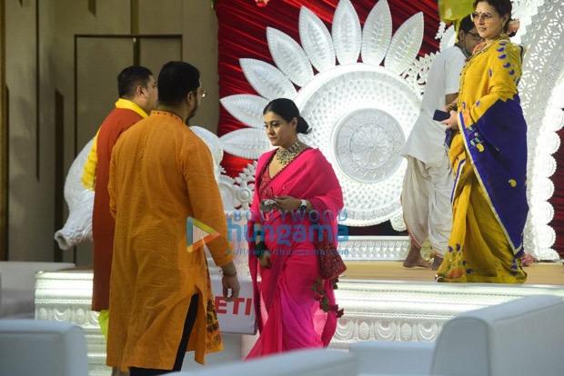 Kajol stuns us in bright pink saree during Durga Puja