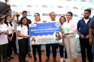 Photos: Bhumi Pednekar snapped participating in the Beach Cleanup drive at Carter Road, Bandra